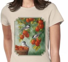 Bird Painting - Apple Harvest Chickadees Womens Fitted T-Shirt
