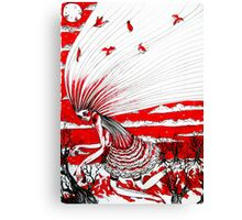 the bird gatherer (red ink) Canvas Print