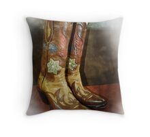 Take A Walk in My Boots Throw Pillow