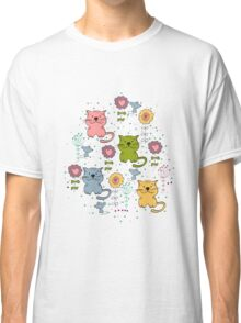 Cute cat and flowers  Classic T-Shirt