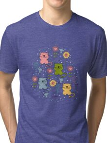 Cute cat and flowers  Tri-blend T-Shirt