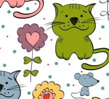 Cute cat and flowers  Sticker