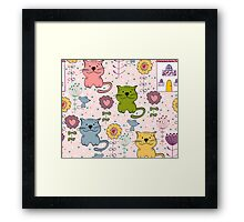 Cute cat and flowers  Framed Print