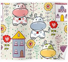 cartoon cow & flowers 2  Poster