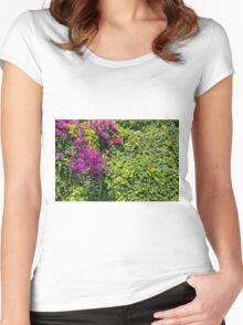 Purple Bougainvillea Greenery Women's Fitted Scoop T-Shirt