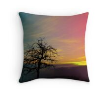 Old tree and colorful sundown panorama | landscape photography Throw Pillow