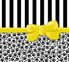 Ribbon, Bow, Dog Paws, Stripes - White Black Yellow by sitnica
