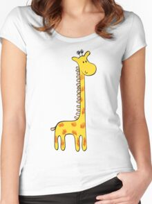 Cute giraffe and flowers  Women's Fitted Scoop T-Shirt
