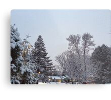 Winter Morning Snow Scene Metal Print