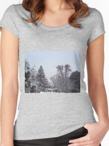 Winter Morning Snow Scene Women's Fitted Scoop T-Shirt