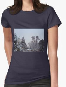 Winter Morning Snow Scene Womens Fitted T-Shirt