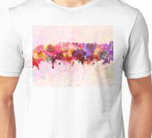 Curitiba skyline in watercolor background Unisex T-Shirt