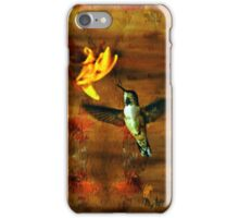 Hovering Hummingbird Cottage Scene iPhone Case/Skin