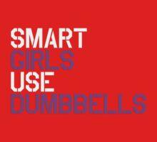 Smart Girls Use Dumbbells (wht/pnk) Kids Clothes