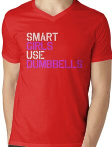 Smart Girls Use Dumbbells (wht/pnk) Mens V-Neck T-Shirt