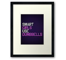 Smart Girls Use Dumbbells (wht/pnk) Framed Print