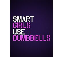 Smart Girls Use Dumbbells (wht/pnk) Photographic Print