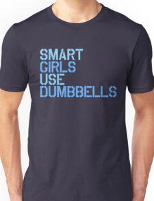 Smart Girls Use Dumbbells (blue) Unisex T-Shirt