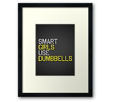 Smart Girls Use Dumbbells (yel/gry) Framed Print