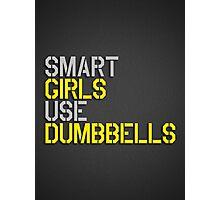 Smart Girls Use Dumbbells (yel/gry) Photographic Print