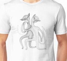 pencil drawing of a dancing cat couple Unisex T-Shirt