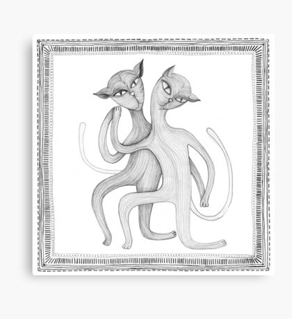 pencil drawing of a dancing cat couple Canvas Print