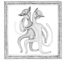 pencil drawing of a dancing cat couple Photographic Print
