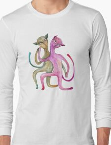 dancing cat couple Long Sleeve T-Shirt