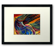 Sunset Mustang Horse Painting Colorful Artwork Framed Print