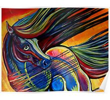 Sunset Mustang Horse Painting Colorful Artwork Poster