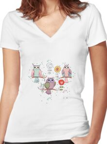Cute owl and flowers 2  Women's Fitted V-Neck T-Shirt