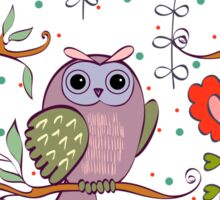 Cute owl and flowers 2  Sticker
