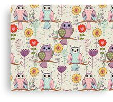 Cute owl and flowers 2  Canvas Print