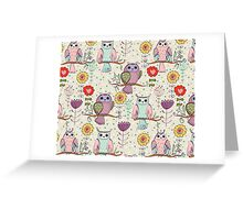 Cute owl and flowers 2  Greeting Card