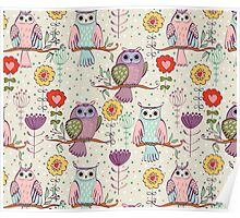 Cute owl and flowers 2  Poster