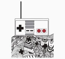 Black - Nes Controller Zentangle by Tangldltd