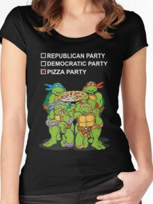 Ninja Turtles Pizza Party Women's Fitted Scoop T-Shirt