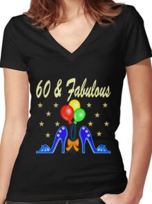 60 AND FABULOUS SHOE LOVER Women's Fitted V-Neck T-Shirt