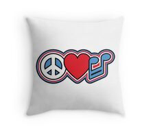 PEACE LOVE MUSIC Symbols Throw Pillow