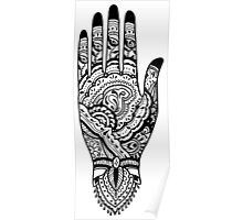 Paisley Henna Hand - Black Poster