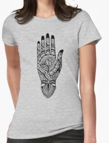 Paisley Henna Hand - Black Womens Fitted T-Shirt