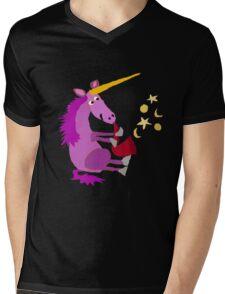 Funny Cool Purple Unicorn Playing Saxophone Mens V-Neck T-Shirt