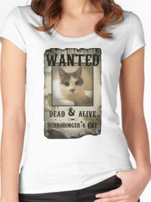 Schrodinger's Cat Wanted Poster Women's Fitted Scoop T-Shirt