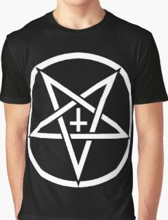 Pentagram with Upside Down Cross Graphic T-Shirt