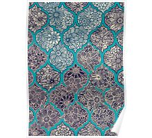 Moroccan Floral Lattice Arrangement - teal  Poster
