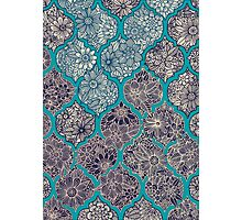 Moroccan Floral Lattice Arrangement - teal  Photographic Print