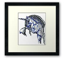 Blue Flame Unicorn in Ball Pen Ink .... Framed Print