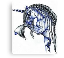 Blue Flame Unicorn in Ball Pen Ink .... Canvas Print