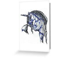 Blue Flame Unicorn in Ball Pen Ink .... Greeting Card
