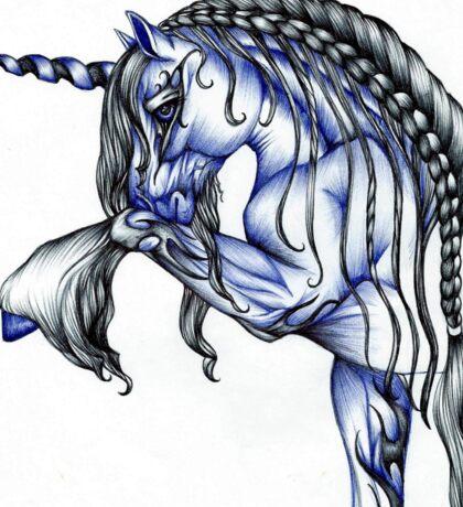 Blue Flame Unicorn in Ball Pen Ink .... Sticker